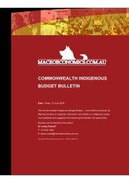 commonwealth indigenous budget bulletin - macroeconomics.com.au