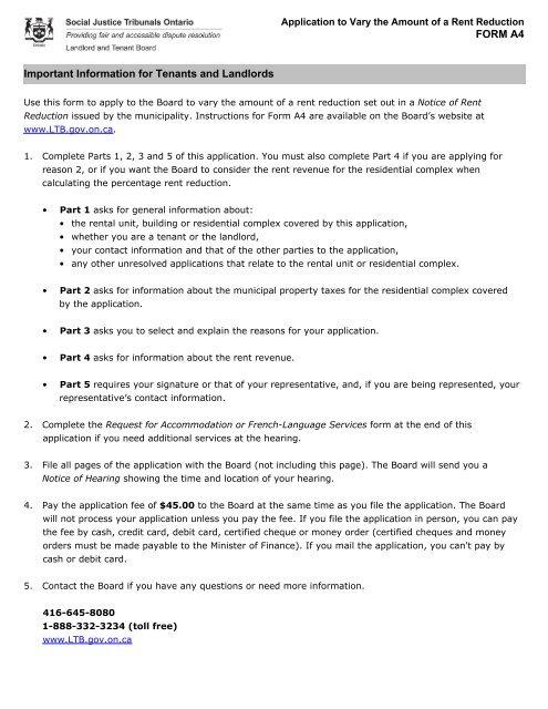 A4 Form RTA - Landlord Tenant Board