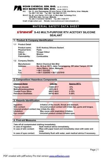 MSDS - S-A3 Multipurpose RTV Acetoxy Silicone Sealant - Axtrada