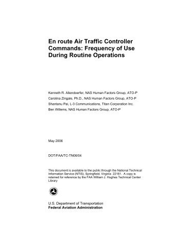 En route Air Traffic Control Commands - FAA Human Factors Branch