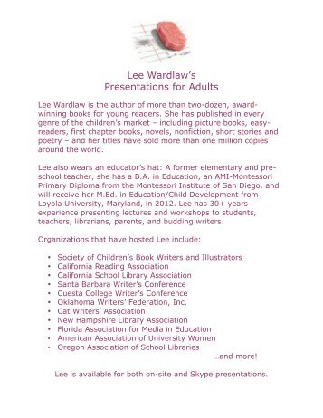 Lee Wardlaw's Presentations for Adults