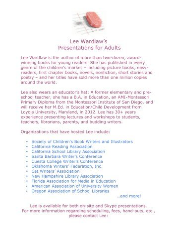 Workshops for Adults - Lee Wardlaw