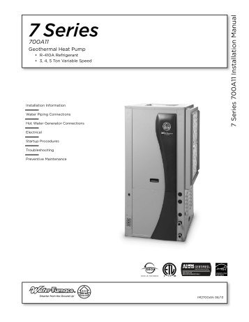 7 Series 7 00A11 Installation Manual - WaterFurnace