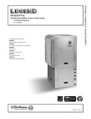 Legend Series Installation Manual - WaterFurnace