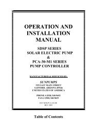 OPERATION AND INSTALLATION MANUAL - SunPumps