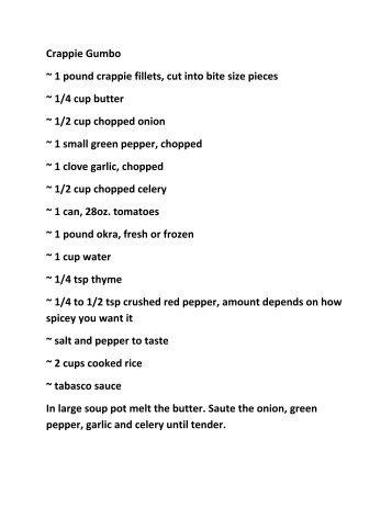 Crappie Gumbo ~ 1 pound crappie fillets, cut into ... - Oil Field Trash