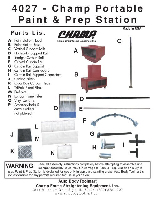 Download Print Assembly Instructions Auto Body Toolmart