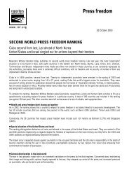 second world press freedom ranking - Reporters Without Borders