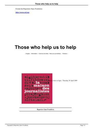 Those who help us to help - Reporters Without Borders