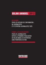 BILAN ANNUEL 2012 - Reporter sans frontières