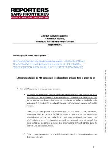 I. Recommandations de RSF concernant les dispositions prévues ...