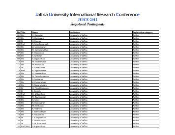 List of Registered Participants - University of Jaffna