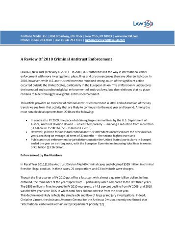 A Review Of 2010 Criminal Antitrust Enforcement - Gibson, Dunn ...