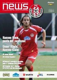 Hannes Kiem, pasta del capitano! Unser Käptn ... - FC Südtirol