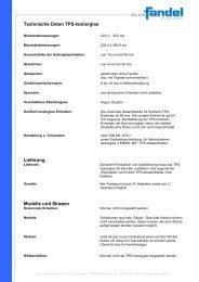 Technische Daten TPS-Isolierglas Lieferung Modelle und Skizzen