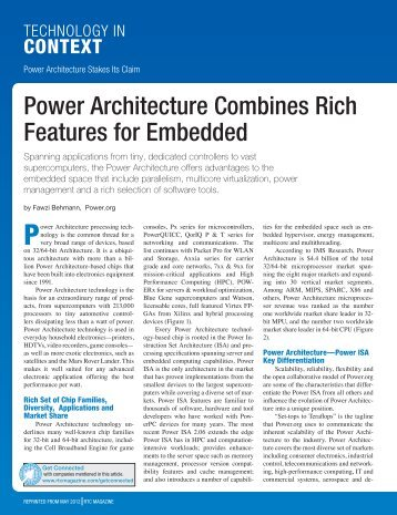 Power Architecture Combines Rich Features for ... - Power.org