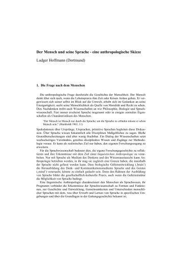 Der Mensch und seine Sprache - eine anthropologische Skizze ...