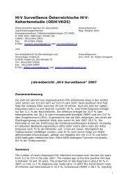 HIV-Surveillance - Jahresbericht 2007 - Bundesministerium für ...