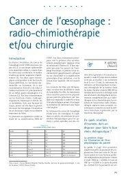 Cancer de l'œsophage : radio-chimiothérapie et/ou chirurgie