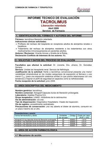 TACROLIMUS - Sociedad Española de Farmacia Hospitalaria