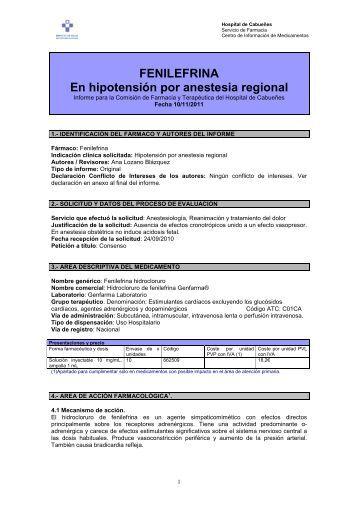 FENILEFRINA En hipotensión por anestesia regional
