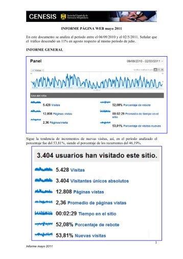 1 INFORME PÁGINA WEB mayo 2011 En este documento se ...