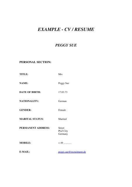 example - cv / resume peggy sue