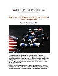 How Ferrari and Bridgestone Stole the 2003 Formula One World ...