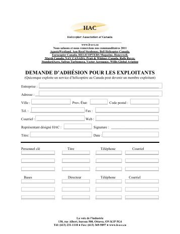 MEMBERSHIP APPLICATION - Helicopter Association of Canada
