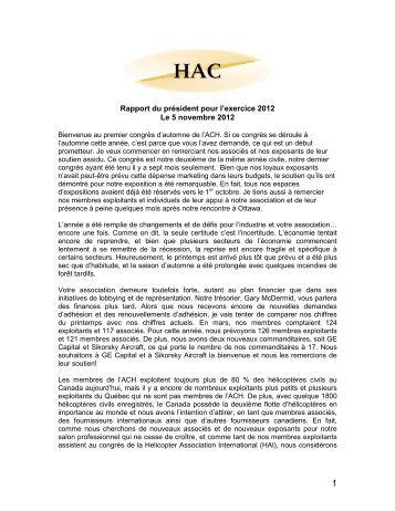 Rapport du président pour 2013 - Helicopter Association of Canada