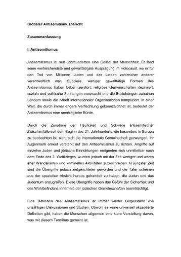 Globaler Antisemitismusbericht Zusammenfassung I. Antisemitismus ...