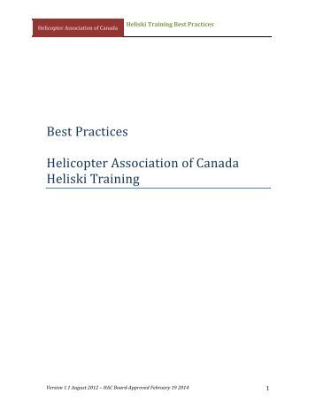 DRAFT Heliski Training Best Practice - Helicopter Association of ...