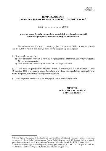 Tekst projektu rozporządzenia - Biuletyn Informacji Publicznej MSW