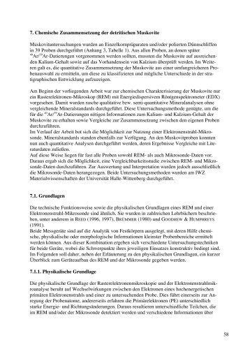 58 7. Chemische Zusammensetzung der detritischen Muskovite ...