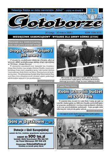 Radni uchwalili budżet na 2008 rok Gala w Bęczkowie - str. 4 - Górno