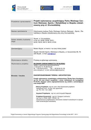 Projekt Wykonawczy uzupełniający 2013 ... - rzislupsk.pl