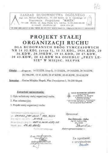 Projekt stałej organizacji ruchu dla budowanych dróg ... - rzislupsk.pl