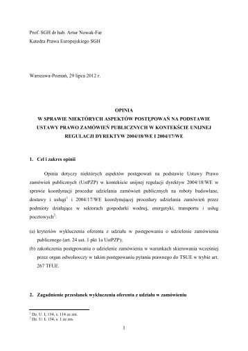 1 Prof. SGH dr hab. Artur Nowak-Far Katedra Prawa Europejskiego ...