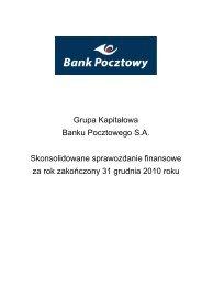 Skonsolidowane sprawozdanie finansowe za rok ... - Bank Pocztowy