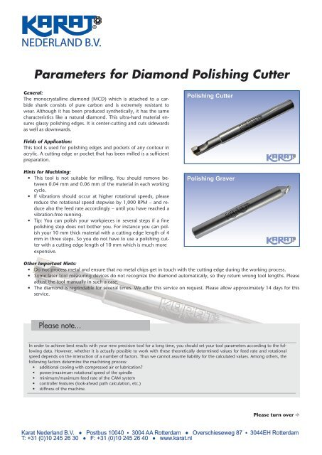 Parameters for Diamond Polishing Cutter - Karat
