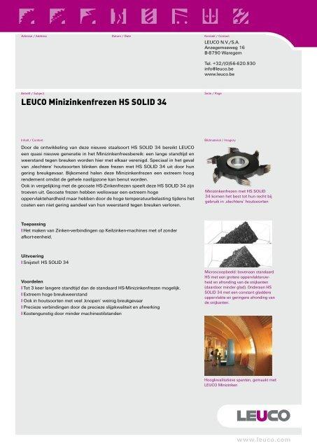 Leuco - Minizinkenfrezen HS Solid 34 (112 kB - 2 pagina) - Karat