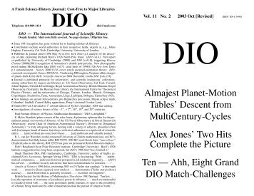 DIO vol. 11, # 2 - DIO, The International Journal of Scientific History