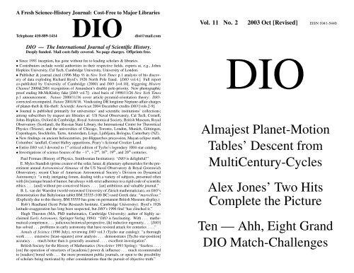 DIO vol. 11, # 2 - DIO, The International Journal of Scientific History