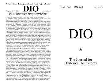 DIO vol. 2, # 1 - DIO, The International Journal of Scientific History