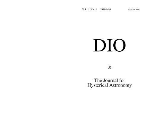 DIO 1.1 - DIO, The International Journal of Scientific History