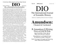 Amundsen: - DIO, The International Journal of Scientific History