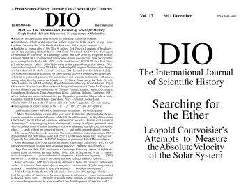 DIO vol. 17 - DIO, The International Journal of Scientific History