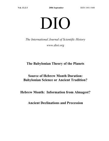 DIO 13.2-3 - DIO, The International Journal of Scientific History