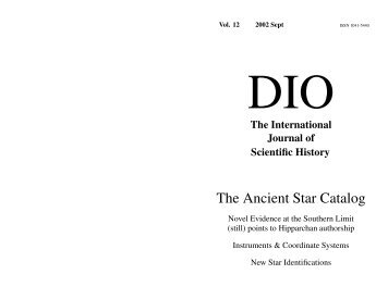 The Ancient Star Catalog - DIO, The International Journal of ...