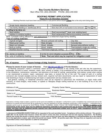Roofing Permit Packet   Bay County Online